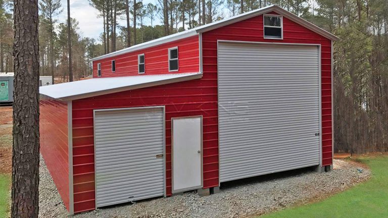 12x41 Utility Steel Garage with Lean-to