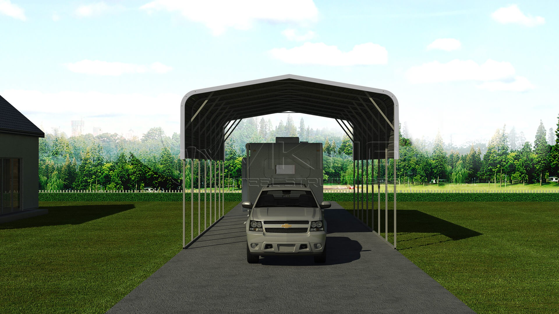 Metal Covered Structures : Metal rv carport