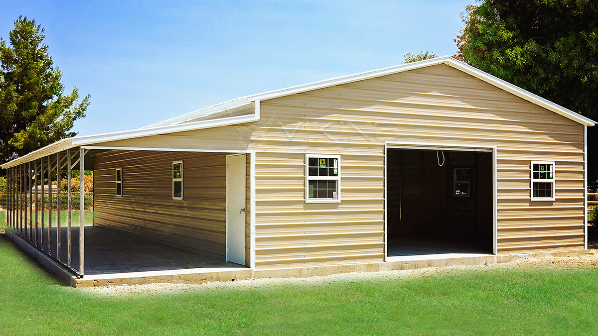 1 Car Garage With Lean To Carport : Metal garage with lean to general steel