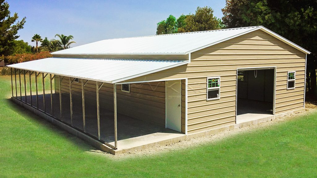 30x51x12 Enclosed Metal Garage With Lean To
