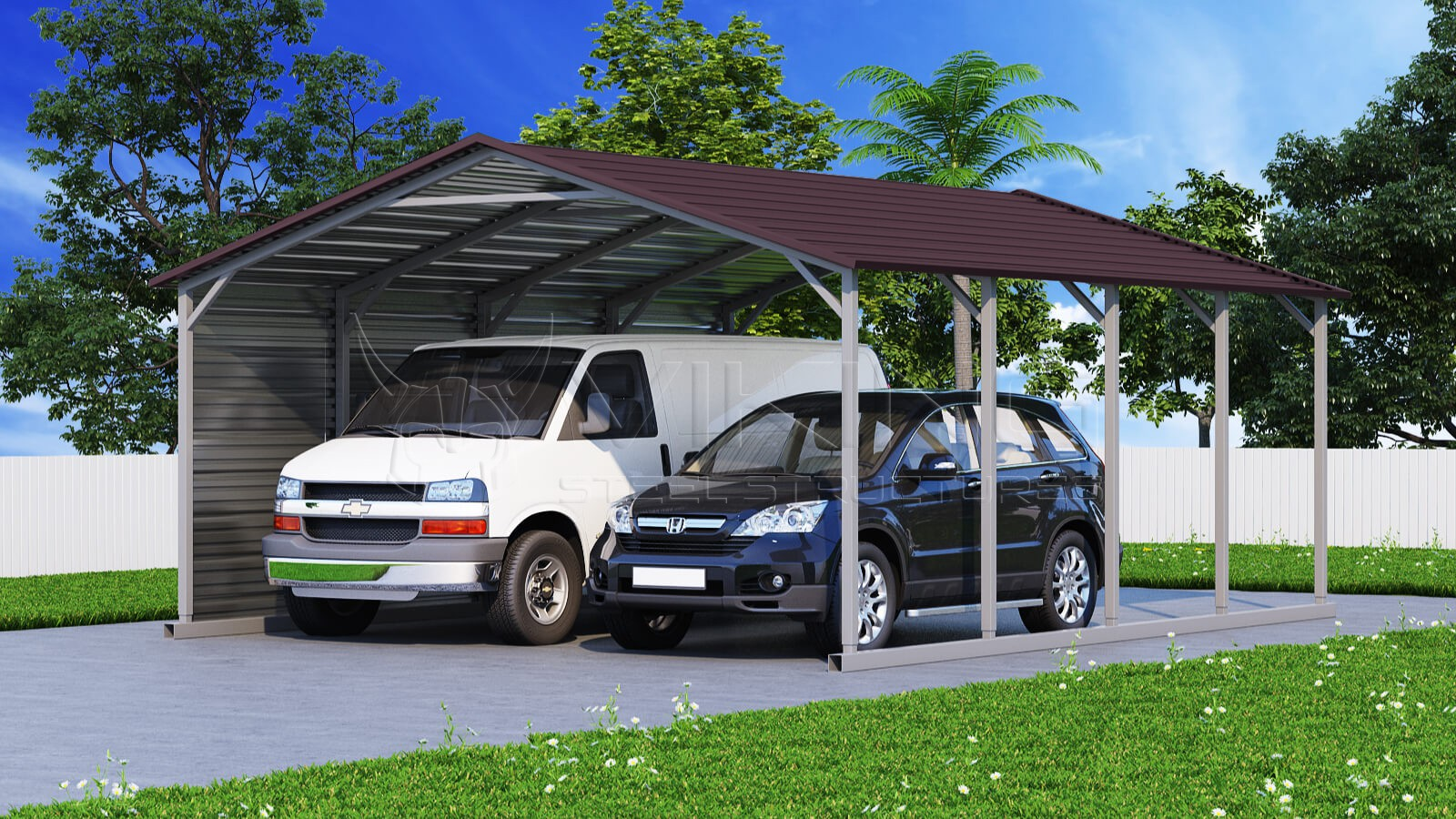20x21 two car metal carport. Black Bedroom Furniture Sets. Home Design Ideas
