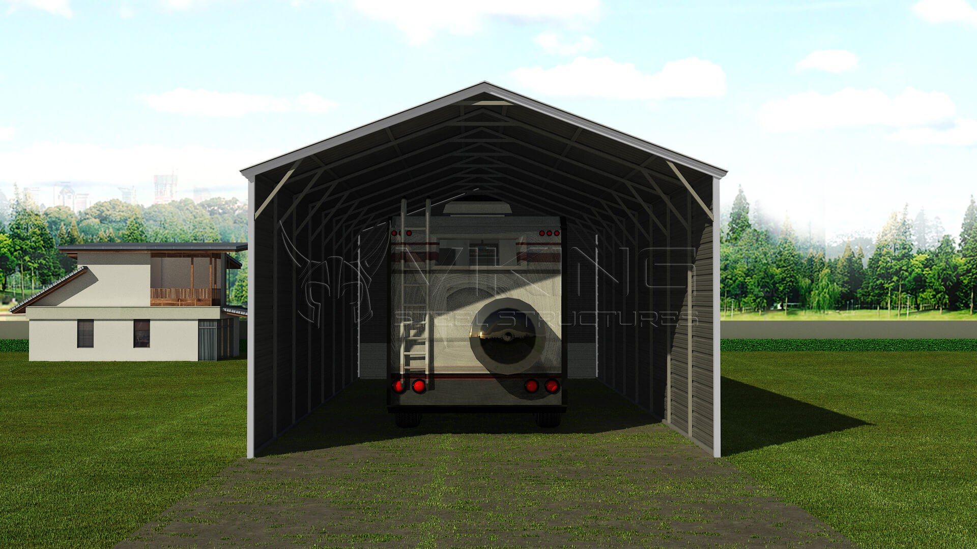 Metal Covered Shelters : Steel rv shelter