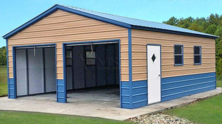 22x26x8 Fully Enclosed Metal Garage