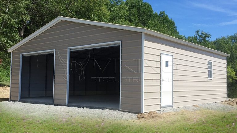 24x25x9 Vertical Roof Metal Garage