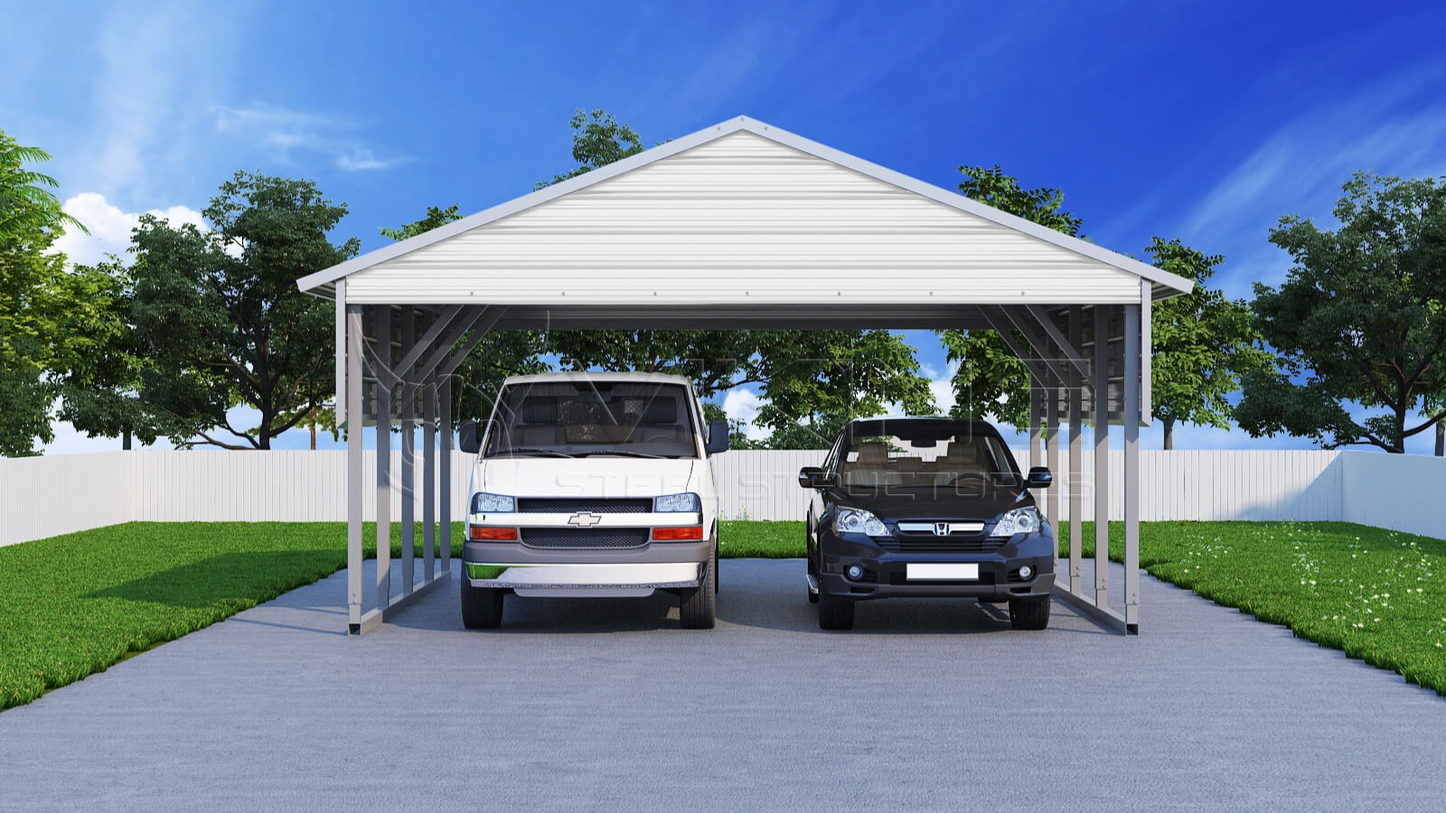22x21 two car steel carport. Black Bedroom Furniture Sets. Home Design Ideas