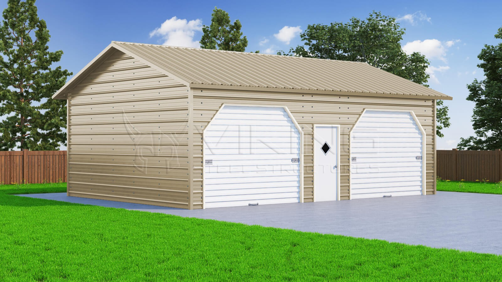 22x31 two car side entry garage for Two story steel building prices