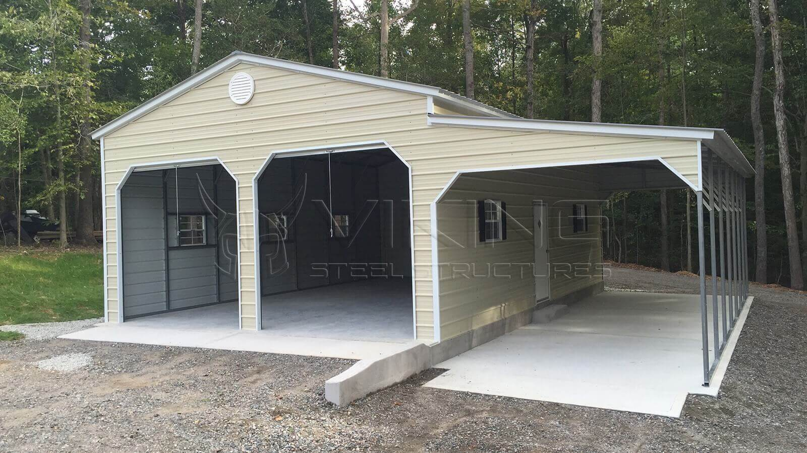 Viking steel structures metal carports barns garages for Carports and garages