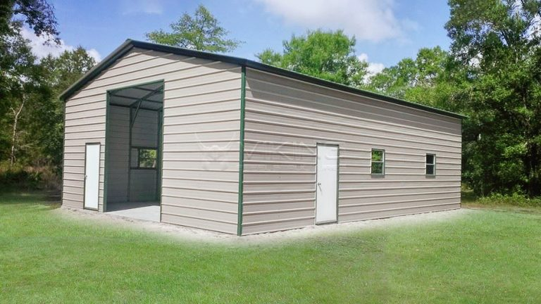 28x40 Enclosed Metal Garage