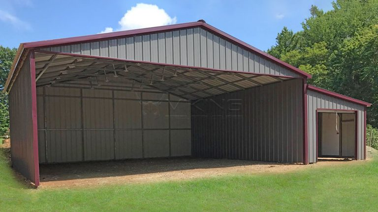 30x26 Vertical Metal Carport With Lean-to