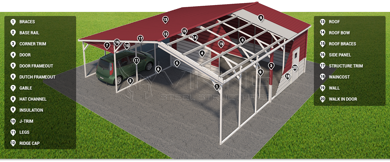 metal carport components